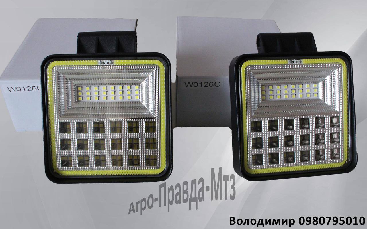 LED фара 126Вт квадратна (42*3діода+лед кольцо)