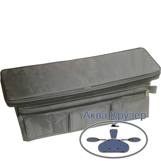 Мягкие сидения накладки 650х200х50 мм с сумкой рундуком для надувных лодок ПВХ, цвет серый