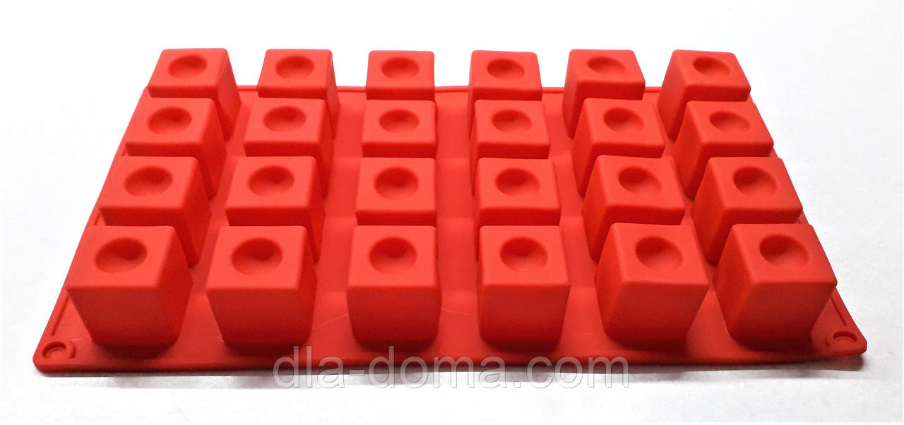 Силиконовая форма кубик с выемкой на 24 ячейки