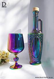 """Бутылка / пляшка стеклянная, емкость  """"СИЯНИЕ""""  (цвет: РАДУГА)"""