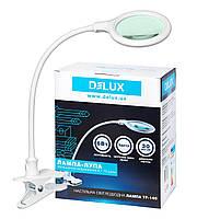 Лампа-лупа светодиодная настольная DELUX TF-140 6 Вт белая на прищепке с линзой