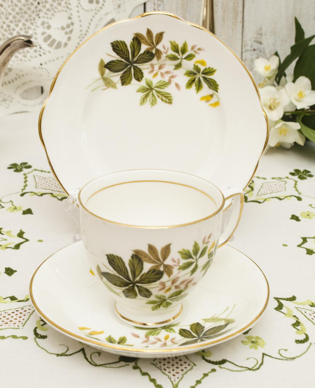 Английская чайная тройка, чашка, блюдце и тарелочка, костяной фарфор, Англия, Duches