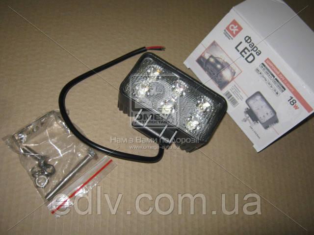 Фара LED прямоугольная 18W, 6 ламп, 110*114,5 мм, широкий луч DK B2- 18W-B FL