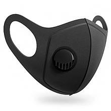 """Защитная маска-респиратор BLACK """"PM2.5"""" черная с клапаном (многоразовая)"""