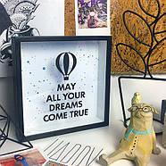 Деревянная копилка для денег May all your dreams come true (воздушный шар), фото 2