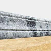 Гибкий пластиковый плинтус Черный мрамор (самоклеющийся рулонный настенный серый плинтус ПВХ декор) 240*8 см