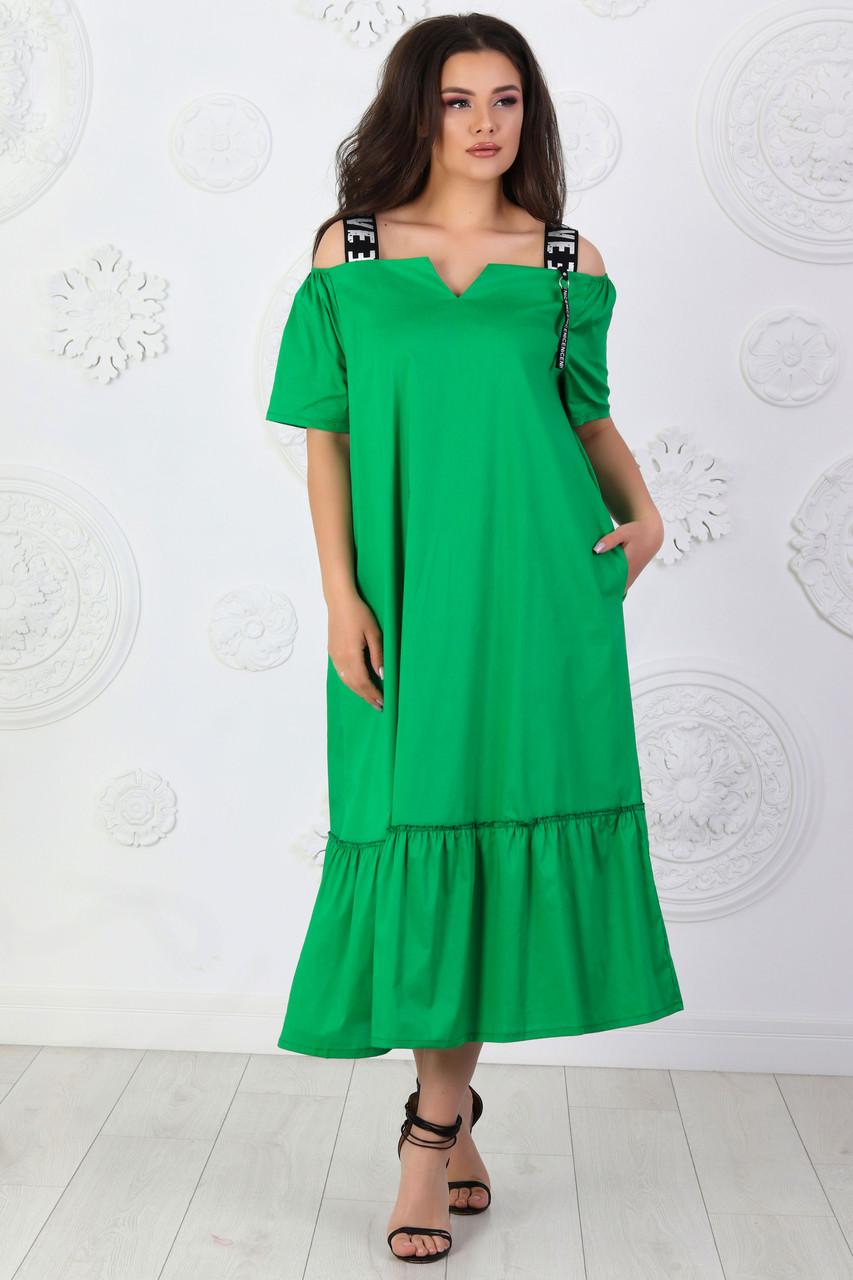 Платье коттон длинное арт. А431 на бретелях зеленое / зеленого цвета / зеленый