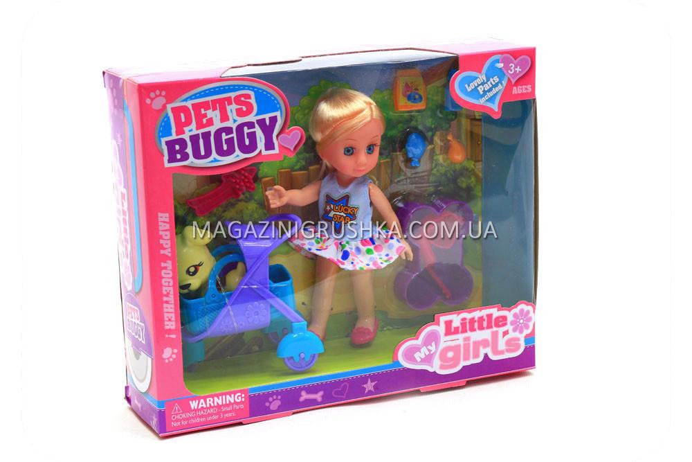 Кукла игрушечная Pets buggy 63002 с питомцем собачкой, коляской и аксессуарами