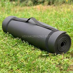 Коврик для йоги и фитнеса / Килимок для йоги та фітнесу 173 x 60 x 1 см (черный)