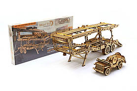 Деревянный конструктор Wood Trick Прицеп автовоз.Техника сборки - 3d пазл