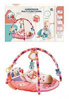 Мягкий детский развивающий музыкальный коврик 668-49 с погремушками и зеркальцем