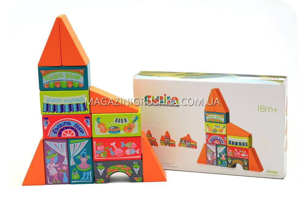 Деревянный конструктор домик Cubika(Кубика) 12367. Деревянные эко игрушки