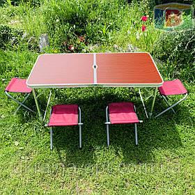 Туристичний складаний стіл + стільці 120х60х70 див. Вага: 7.1 кг Зручний для перенесення. DT-4251