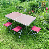 Туристический стол складной + стулья 120х60х70 см. Вес: 7.1 кг. Удобен для переноски. DT-4251, фото 3