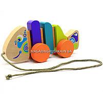 Детская деревянная каталка рыбка-каталка 13630 Cubika (Кубика). Деревянные эко игрушки, фото 2