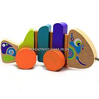 Детская деревянная каталка рыбка-каталка 13630 Cubika (Кубика). Деревянные эко игрушки, фото 3