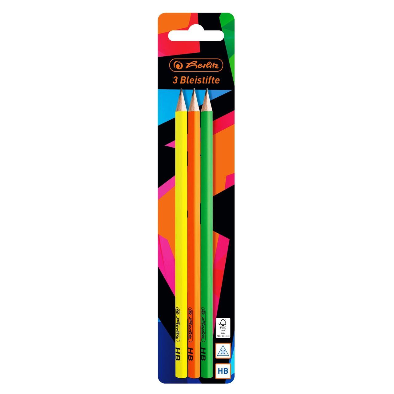 Олівці чорнографітні Herlitz Neon Art 3шт HB