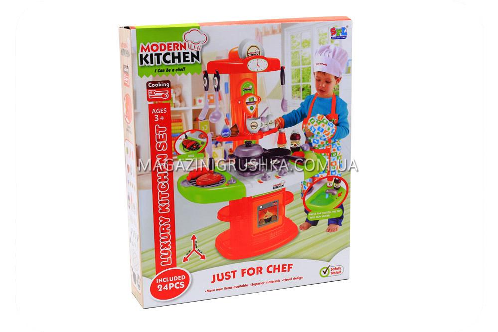 Детская игрушечная кухня с посудой (свет, звук, вода) 24 элемента 16808
