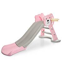 Детская горкаHF-H008-8, мишка, розово-бежевая. Размер: 80х78х161см. Баскетбольное кольцо. Bambi HF-H008-8