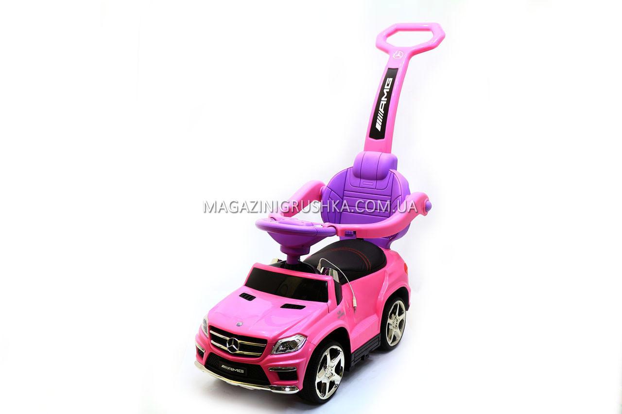 Дитяча машинка каталка-толокар Mercedes SX1578-8 рожевий, шкір сидіння, EVA колеса, MP3