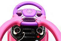 Дитяча машинка каталка-толокар Mercedes SX1578-8 рожевий, шкір сидіння, EVA колеса, MP3, фото 5