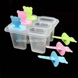 Форма для мороженого пластиковая Мишка (6 порций) / Пластикова форма для морозива