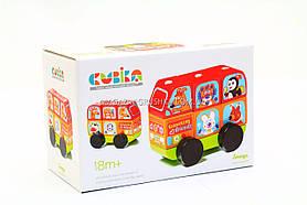 """Детский деревянный конструктор Автобус """"Весёлые звери"""" Cubika(Кубика) 13197."""