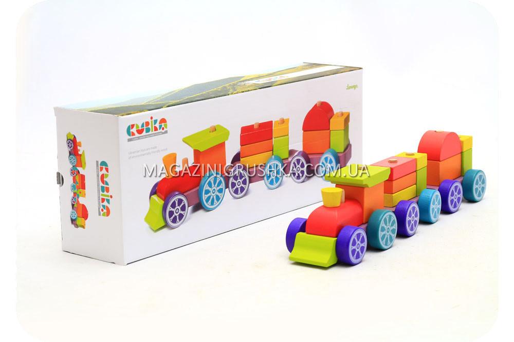 Дитячий дерев'яний конструктор поїзд Cubika(Кубики) 12923. Дерев'яні еко іграшки