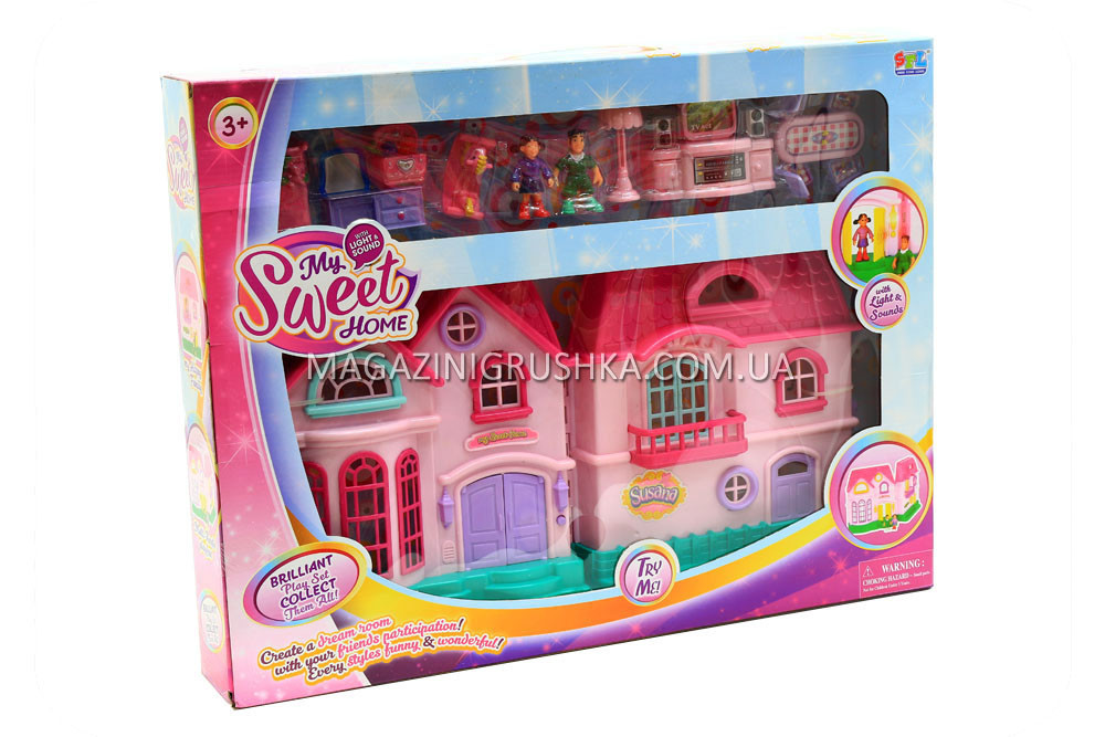 Детский игровой домик для кукол (свет, звук, мебель) 16526D