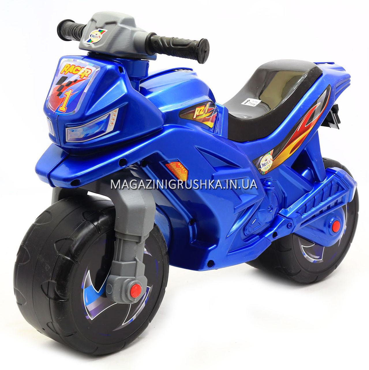 Детский Мотоцикл толокар Орион музыкальный (синий). Популярный транспорт для детей от 2х лет