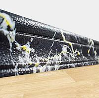 Самоклеющийся гибкий плинтус Черно-Желтый Мрамор (рулонный настенный/напольный пластиковый ПВХ багет) 240*8 см