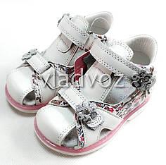 Детские босоножки сандалии сандали для девочек кожаные белые tom.m 25р 15,7см