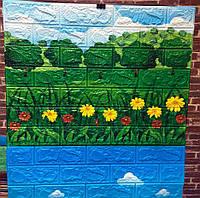 Самоклеюча дитяча 3Д панель Галявина (3D панелі для стін під цеглу декор дитячої квіти трава) 700x770x6 мм