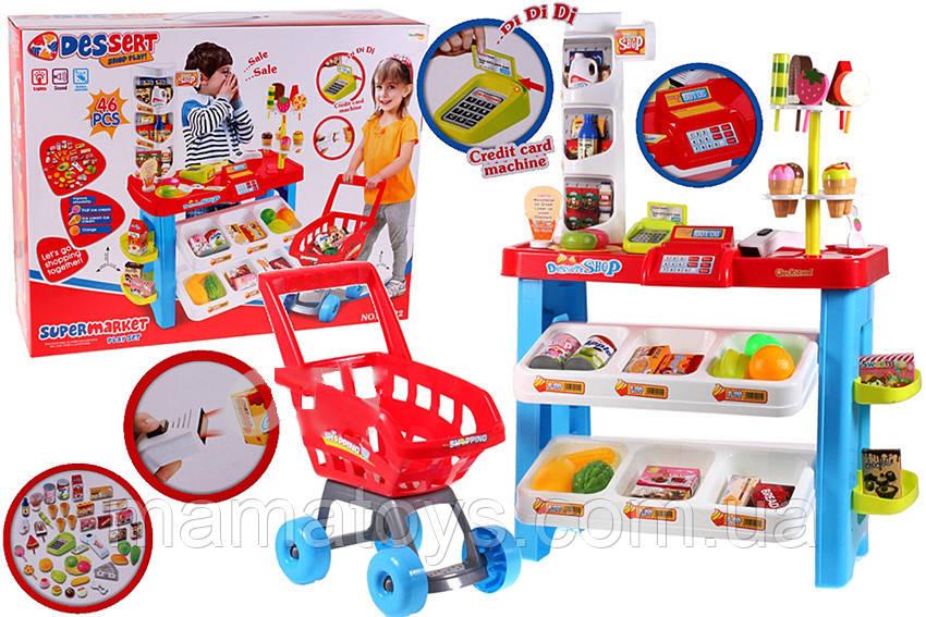 Детский Игровой Магазин 668-22 Супермаркет с тележкой. касса, звук
