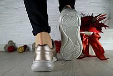 Женские кроссовки кожаные весна/осень серебристые CrosSAV 56, фото 3