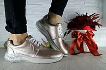 Жіночі кросівки шкіряні весна/осінь сріблясті CrosSAV 56, фото 2