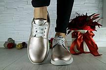 Жіночі кросівки шкіряні весна/осінь сріблясті CrosSAV 56, фото 3