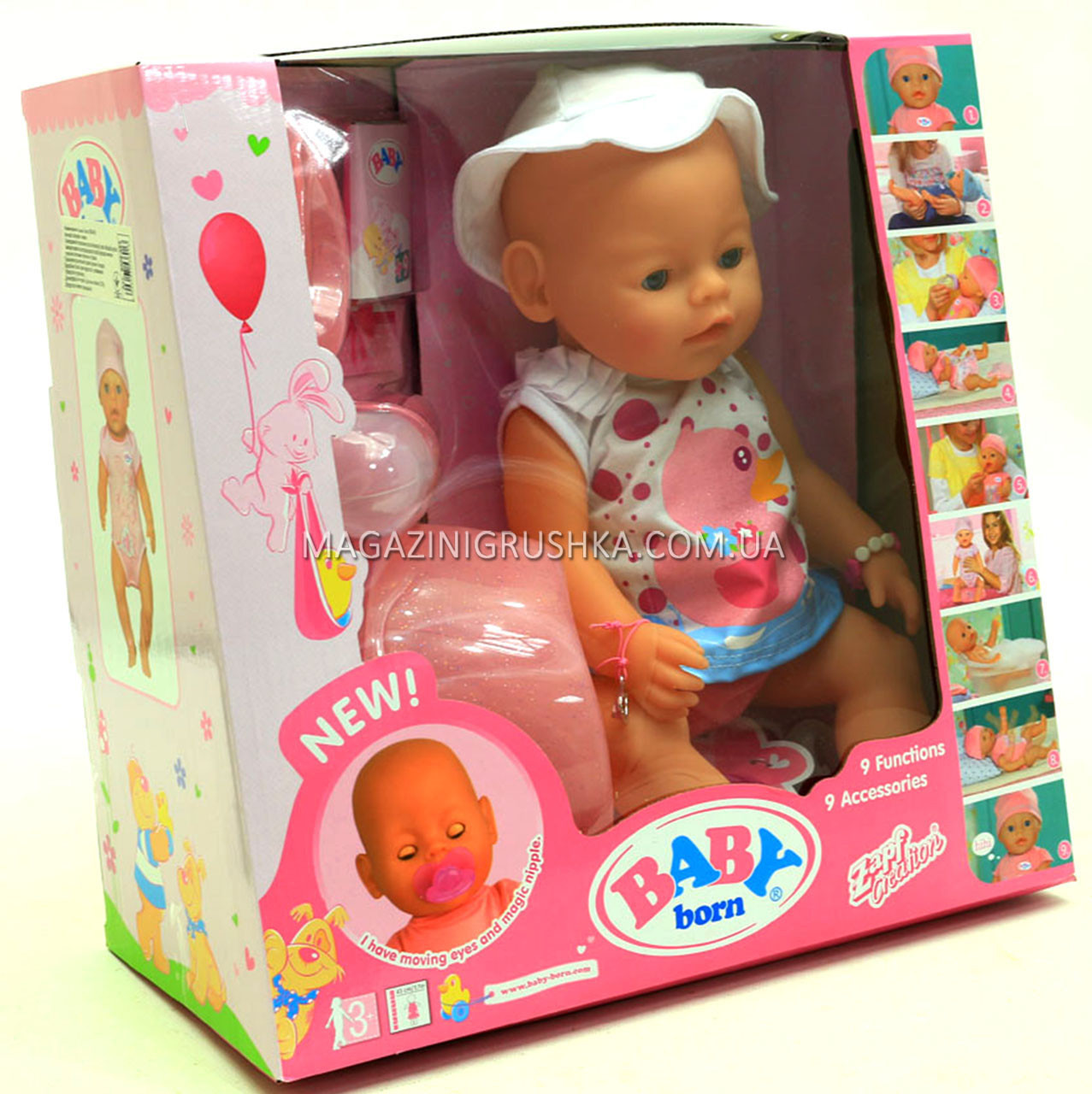 Интерактивная кукла Baby Born (беби бон). Пупс аналог с одеждой и аксессуарами 9 функций беби борн 8006-462