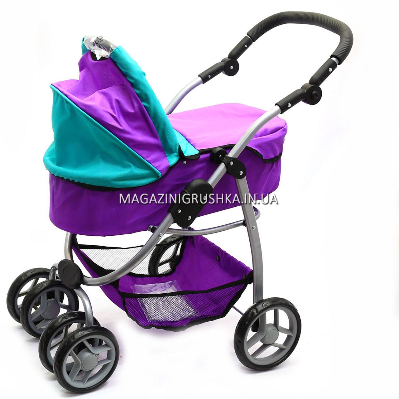Коляска для кукол 2в1 (трансформер) со съемной люлькой, сумкой и корзиной для вещей 9662-1-A (фиолетовая)