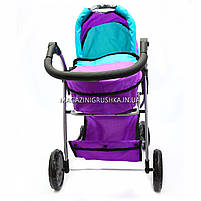 Коляска для кукол 2в1 (трансформер) со съемной люлькой, сумкой и корзиной для вещей 9662-1-A (фиолетовая), фото 3