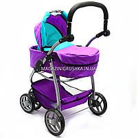 Коляска для кукол 2в1 (трансформер) со съемной люлькой, сумкой и корзиной для вещей 9662-1-A (фиолетовая), фото 4