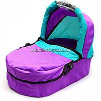 Коляска для кукол 2в1 (трансформер) со съемной люлькой, сумкой и корзиной для вещей 9662-1-A (фиолетовая), фото 5