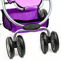 Коляска для кукол 2в1 (трансформер) со съемной люлькой, сумкой и корзиной для вещей 9662-1-A (фиолетовая), фото 6