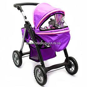 Коляска для кукол со съемной люлькой, сумкой и корзиной для вещей 9388 (фиолетовая)
