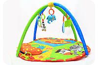 Мягкий коврик для малыша «Лесные животные» с дугой (27289), фото 1