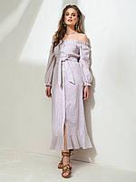 Длинное платье в полоску с открытыми плечами ЛЕТО