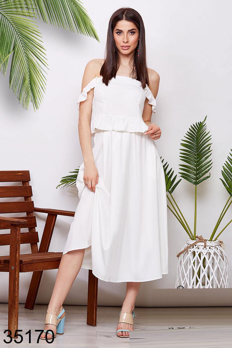Летний костюм юбка миди + блузка с открытыми плечами р.42-46