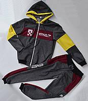Спортивный костюм на мальчика от 2 до 6 лет серый с бордовым цветом 21008