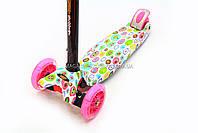 Трехколесный самокат Scooter со светящимися колесами для детей и подростков весна-лето, фото 4