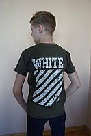 "Футболка подростковая для мальчика ""Off-white"" размер 9-12 лет, цвет хаки, фото 1"
